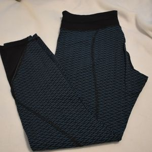 Lululemon Leggings, Blue & Black Motif, size 10